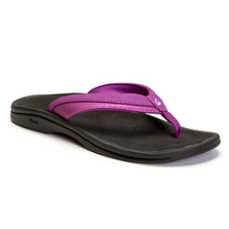 OluKai Ohana Womens Flip Flops, Dahlia-Black, 256