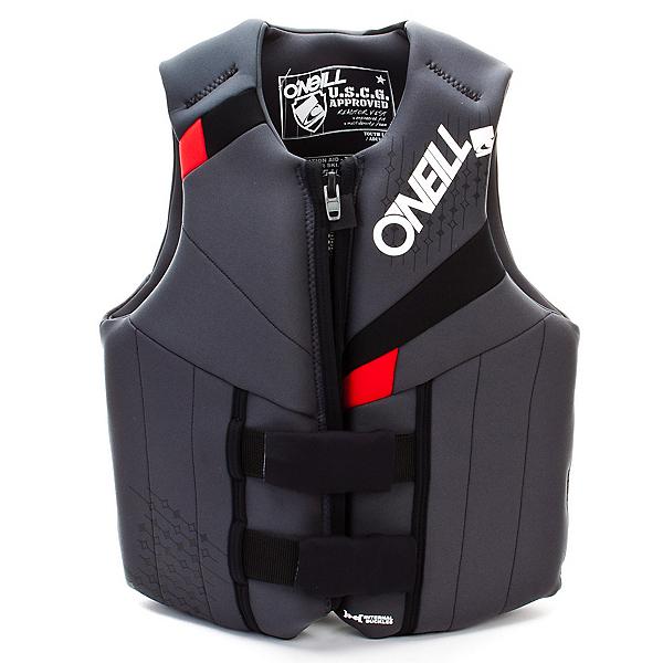 O'Neill Neoprene Teen Life Vest 2017, Coal-Black-Red, 600