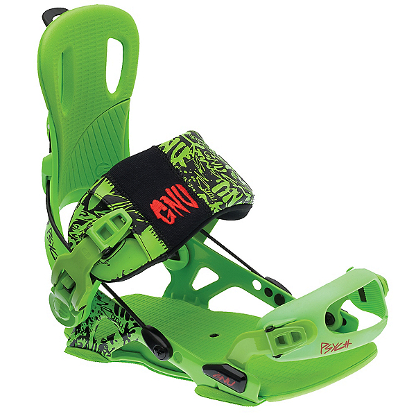 Gnu Psych Snowboard Bindings, Green, 600