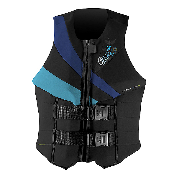 O'Neill Siren LS Womens Life Vest, Black-Pacific-Turquoise, 600