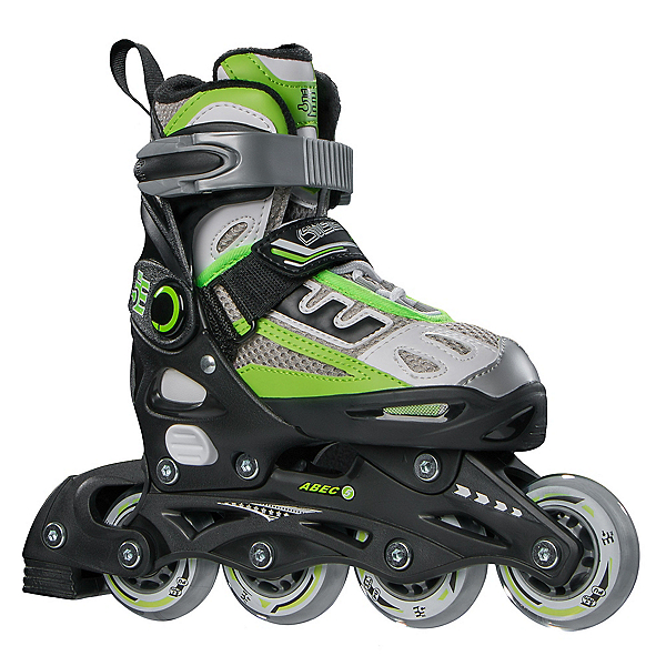 5th Element B2-100 Adjustable Kids Inline Skates 2020, Black-Green, 600