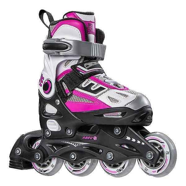 5th Element G2-100 Adjustable Girls Inline Skates 2019, White-Pink, 600