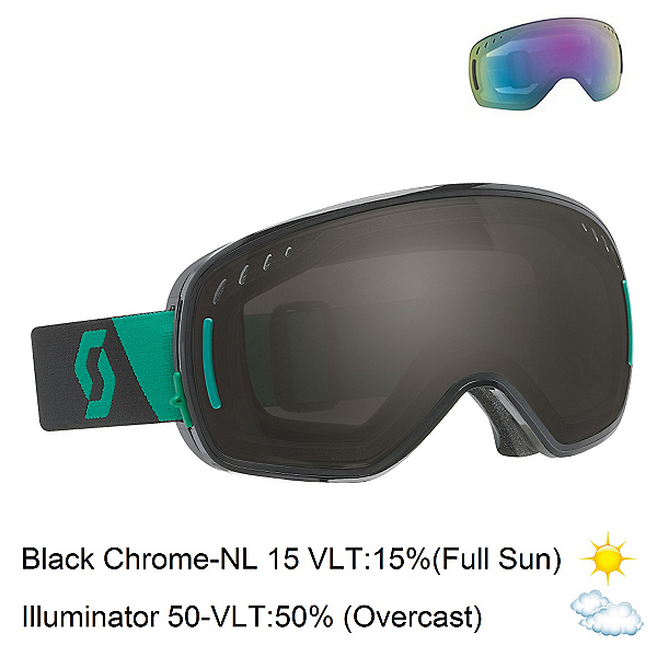 Scott LCG Goggles, Black Green-Black Chrome + Bonus Lens, 600