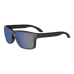 Oakley Holbrook Polished Black Sunglasses, Matte Black-Ice Iridium Polarized, 256