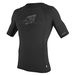 O'Neill Skins Short Sleeve Crew Mens Rash Guard, Black-Black-Black, 256