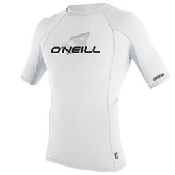 O'Neill Skins Short Sleeve Crew Mens Rash Guard, White-White-White, 256