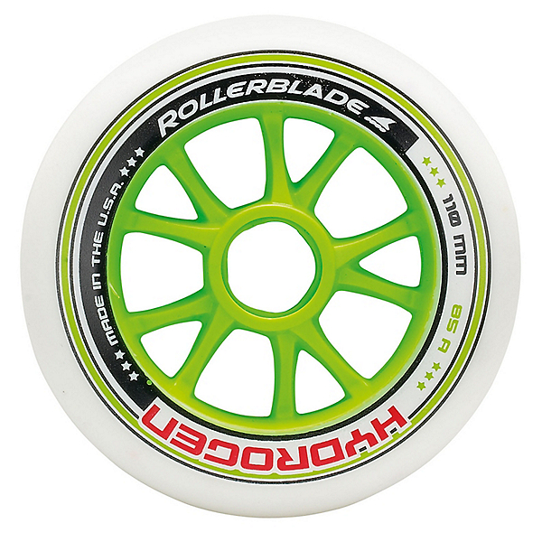 Rollerblade Hydrogen 110mm 85A Inline Skate Wheels - 8 Pack 2018, Green, 600
