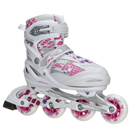 Roces Moody 4.0 Adjustable Girls Inline Skates, White-Pink, 256