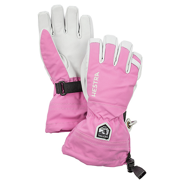 Hestra Heli Ski Jr Girls Kids Gloves, Cerise, 600