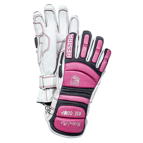 Hestra RSL Comp Vertical Cut Womens Ski Racing Gloves, White-Cerise, 600