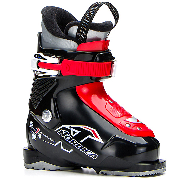 Nordica Team 1 Kids Ski Boots, Black-Red, 600