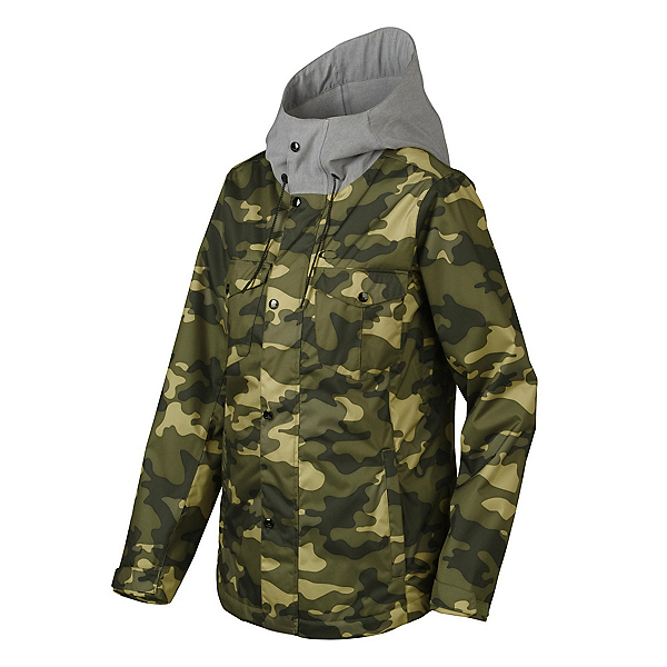 Oakley Charlie Womens Shell Snowboard Jacket, Olive Camo, 600