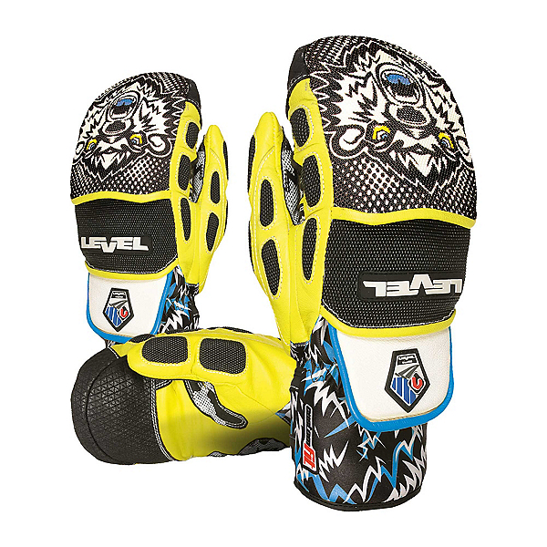 Level Worldcup CF Ski Racing Mittens, Black-Yellow, 600