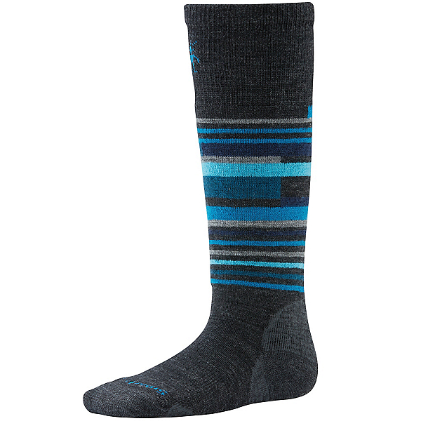 SmartWool Wintersport Stripe Kids Ski Socks, Charcoal Heather, 600