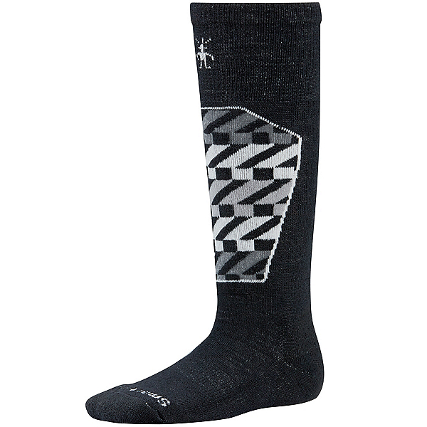 SmartWool Ski Racer Kids Ski Socks, Black-White, 600