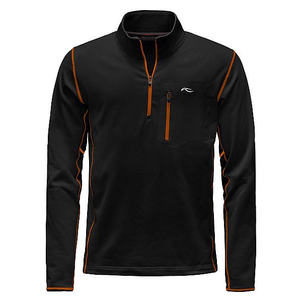 KJUS Hydraulic Half Zip Mens Mid Layer, Black-K Orange, 600