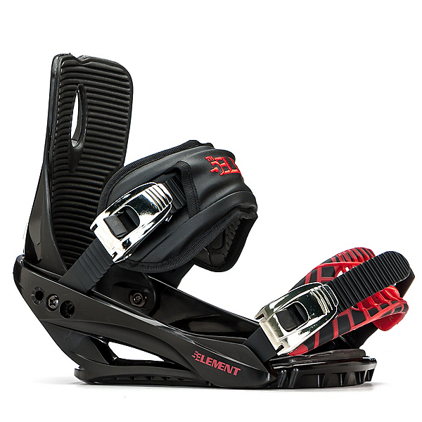 5th Element Stealth 3 Snowboard Bindings, Black-Red, 600