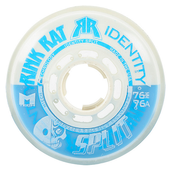 Rink Rat Identity Split 76A Inline Hockey Skate Wheels - 4 Pack, Blue-White, 600
