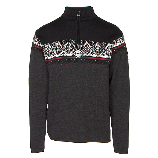 Dale Of Norway St Moritz Masculine Mens Sweater, Dark Charcoal-Raspberry-Black-, 600