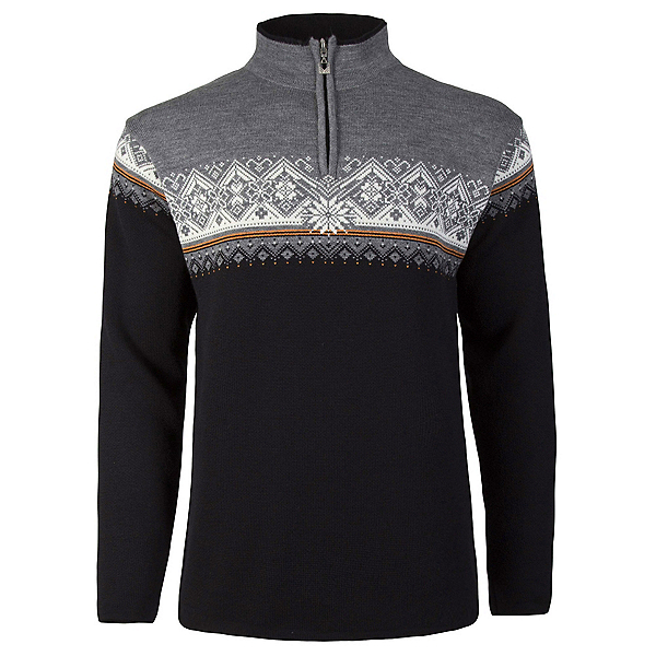 Dale Of Norway St Moritz Masculine Mens Sweater, Black-Orange Peel-Off White-Sm, 600