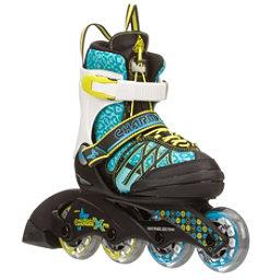 K2 Charm X Pro Adjustable Girls Inline Skates, Cyan-White, 256