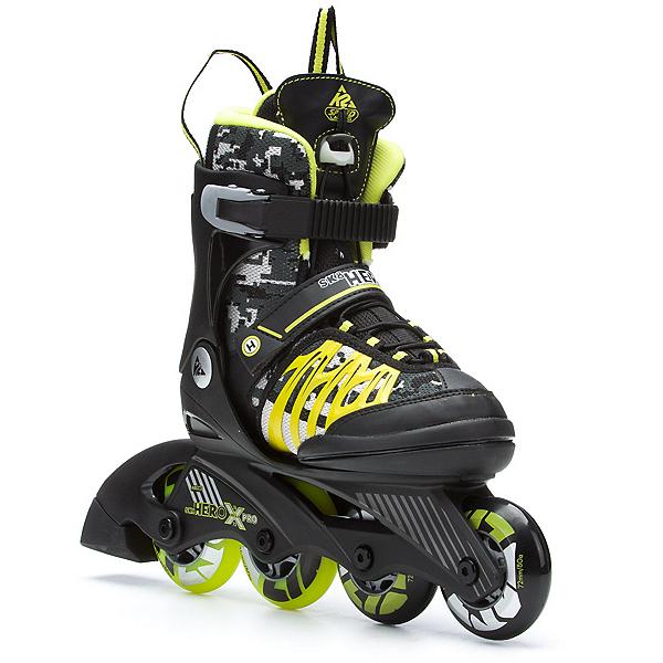 K2 Sk8 Hero X Pro Adjustable Kids Inline Skates, Black-Lime, 600