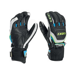 Leki World Cup Race Coach Flex S GTX Ski Racing Gloves, Black-White-Cyan-Yellow, 256