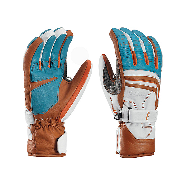 Leki Fuse Retro S Gloves, Cyan-White-Tan-Orange, 600
