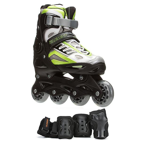 5th Element B2-100 Adjustable Boys Skates with Pads, Black-Green, 600