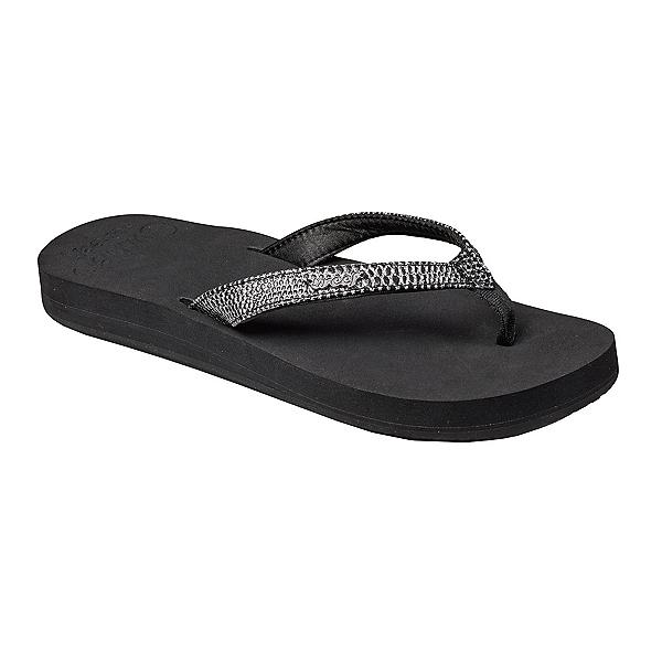 Reef Star Cushion Sassy Womens Flip Flops, Black-Silver, 600
