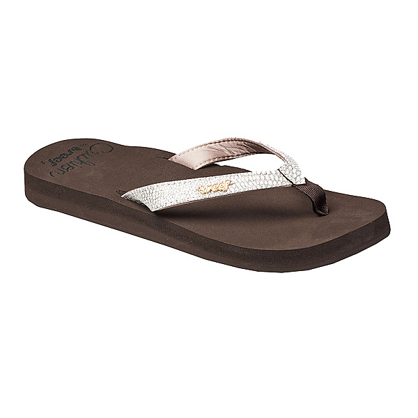 Reef Star Cushion Sassy Womens Flip Flops, Brown-White, 600