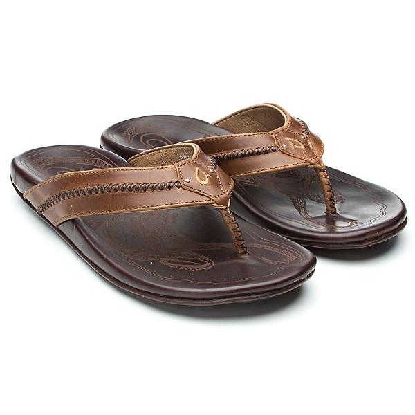 OluKai Mea Ola Mens Flip Flops, Tan-Dark Java, 600