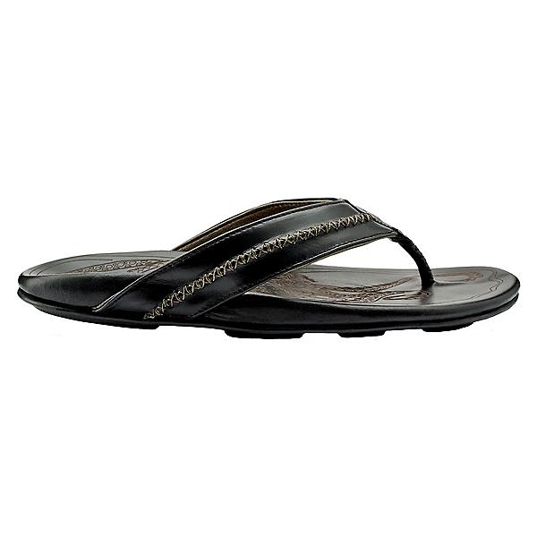 OluKai Mea Ola Mens Flip Flops, Black-Black, 600