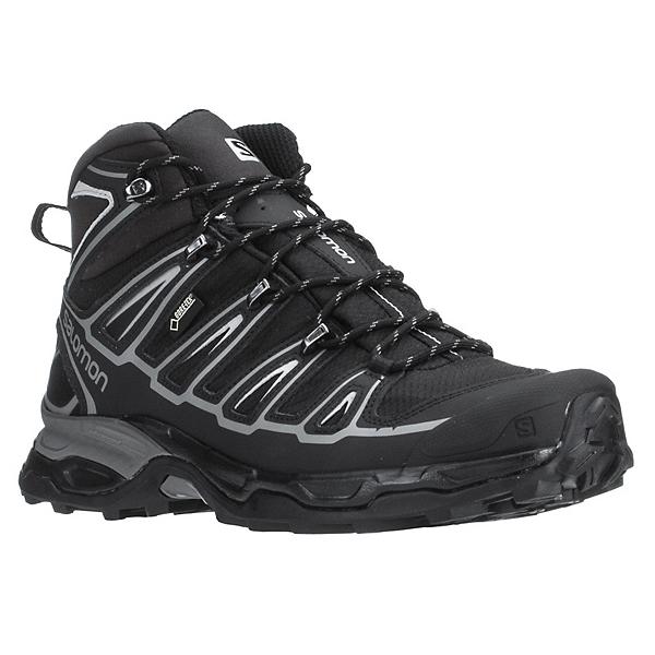Salomon X Ultra Mid 2 GTX Mens Hiking Boots, Black-Black-Aluminium, 600