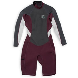 O'Neill Bahia Long Sleeve Spring Womens Shorty Wetsuit, Myers-Graphite-Lunar, 256