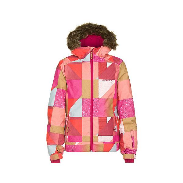 O'Neill Tigereye Girls Snowboard Jacket, Orange Aop, 600