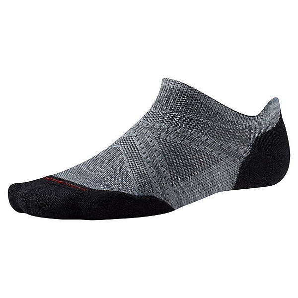SmartWool PHD Run Light Elite Micro 17 Socks, Light Gray-Black, 600