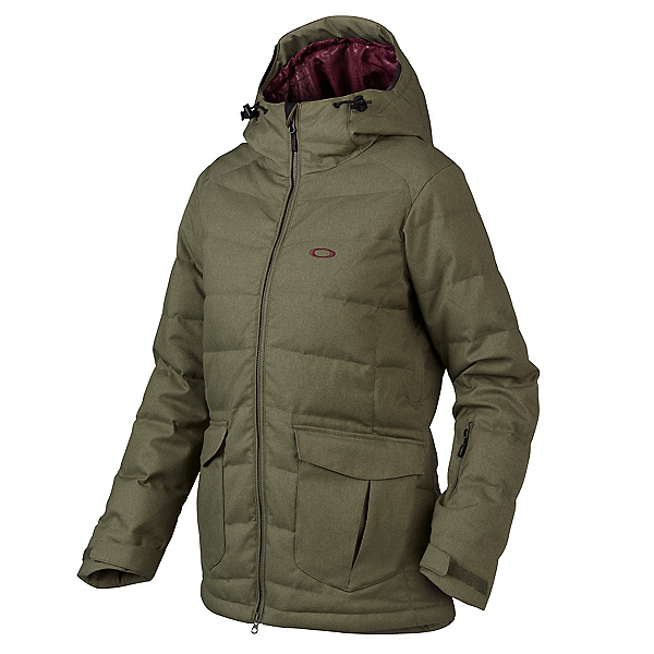 Oakley Sierra Down Womens Insulated Snowboard Jacket, Worn Olive, 600