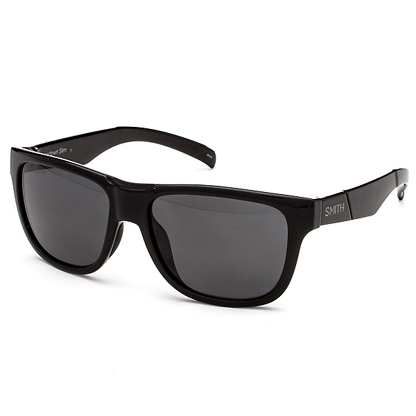 Smith Lowdown Slim Polarized Sunglasses, Black-Polarized Gray, 600