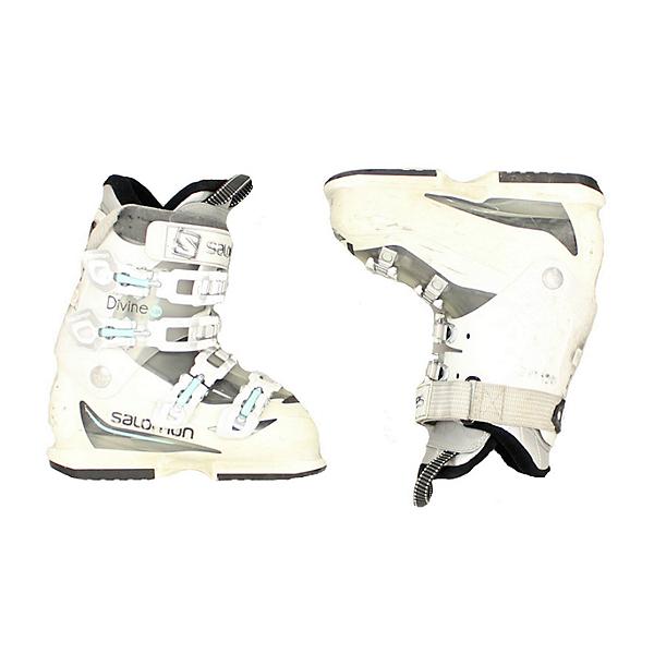 Used Womens Salomon Divine Ski Boots White Baby Blue Latch, , 600