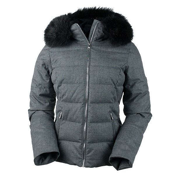 Obermeyer Bombshell with Faux Fur Womens Insulated Ski Jacket, Charcoal, 600