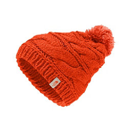 The North Face Triple Cable Pom Womens Hat, Fire Brick Red-Nasturtium Oran, 256