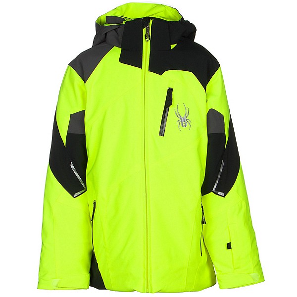 Spyder Leader Boys Ski Jacket, Bryte Yellow-Black-Polar, 600