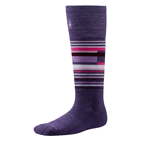 SmartWool Wintersport Stripe Kids Ski Socks, Desert Purple, 600