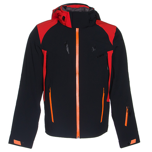 Spyder Bromont Mens Insulated Ski Jacket, Black-Volcano-Bryte Orange, 600