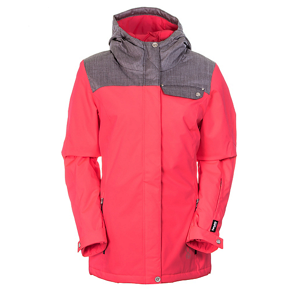 Spyder Empress Jacket Womens Insulated Ski Jacket, Bryte Pink-Graystone Crosshatch, 600