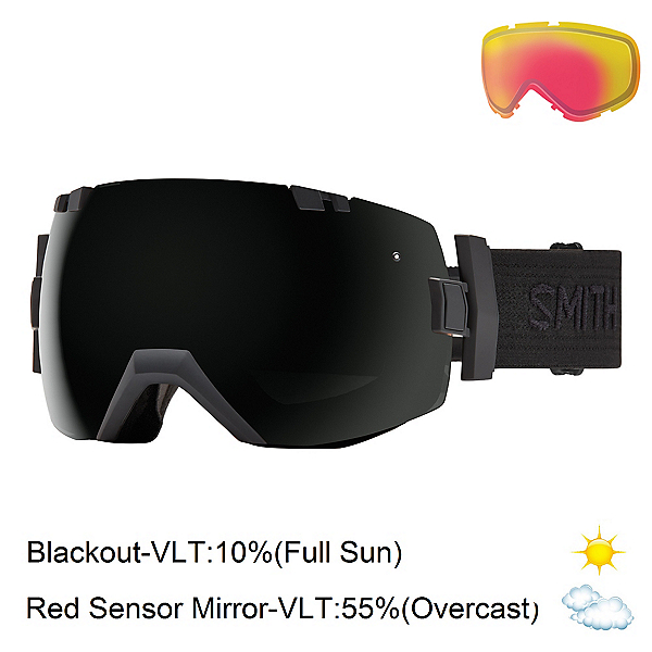 Smith I/OX Goggles, Black-Black-Blackout + Bonus Lens, 600