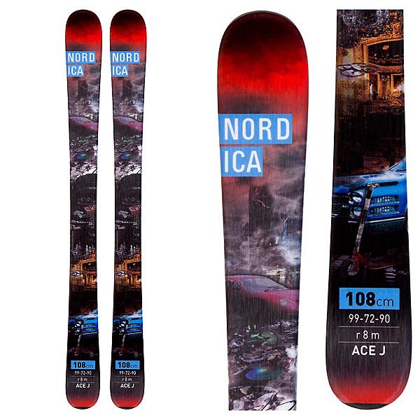 Nordica Ace Jr. Kids Skis, Black, 600