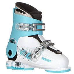 Roces Idea Up G Girls Ski Boots, White-Light Blue-Black (2 Buckle), 256