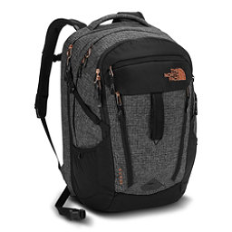 The North Face Surge Womens Backpack, TNF Black Heather-Burnt Coral, 256